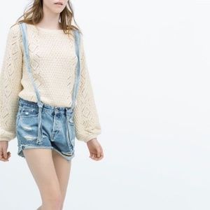 ZARA trf vintage collection jean shorts overall